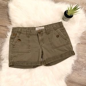 Cuffed Army Green Shorts with Button Detail